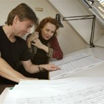 Reading the score of Adriana Mater with Esa-Pekka Salonen in 2005.